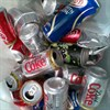 Photograph of recycled cans collected at the Crediton Food Festival, 2010