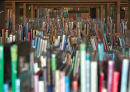 Photograph of lots of books in a library