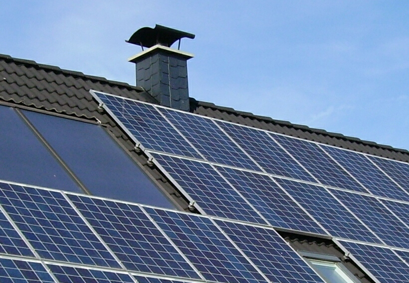 Photograph of photovoltaic panels on a roof
