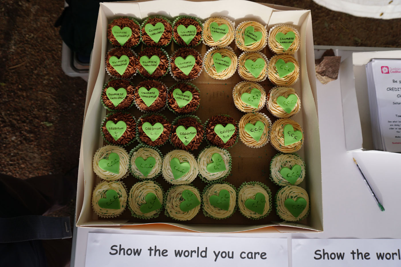 Photograph of a box of cakes decorated with green hearts