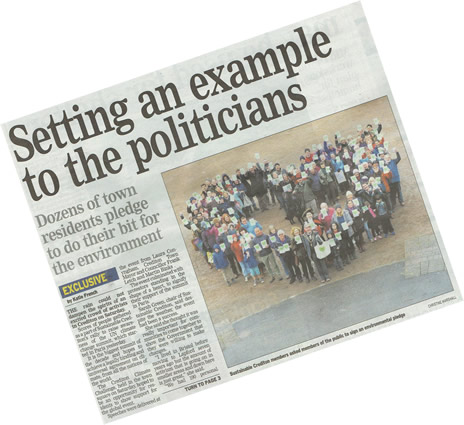 "Photocopy of the main article on the front page of the Mid-Devon Gazette 1st December 2015: ""Setting an example to the politicians"""