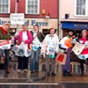 Photograph of Sustainable Crediton supporters protesting against plastic bags