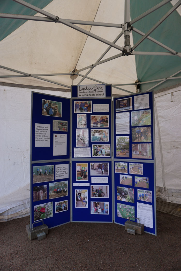 Photograph of display stands for Landscore Primary School