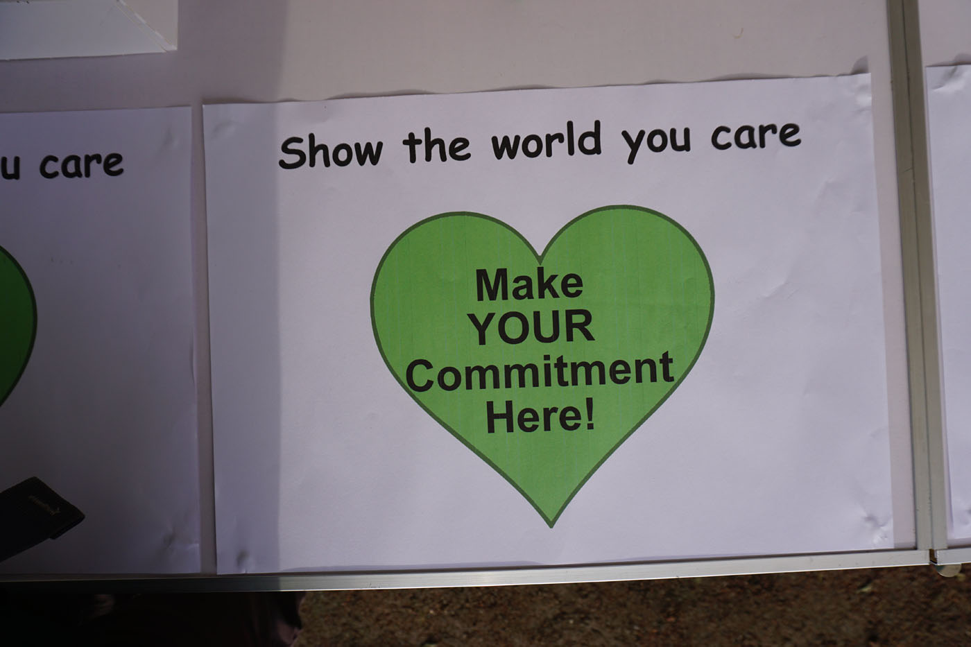 "Photograph of a poster ""Show the world you care - Make your commitment here"""