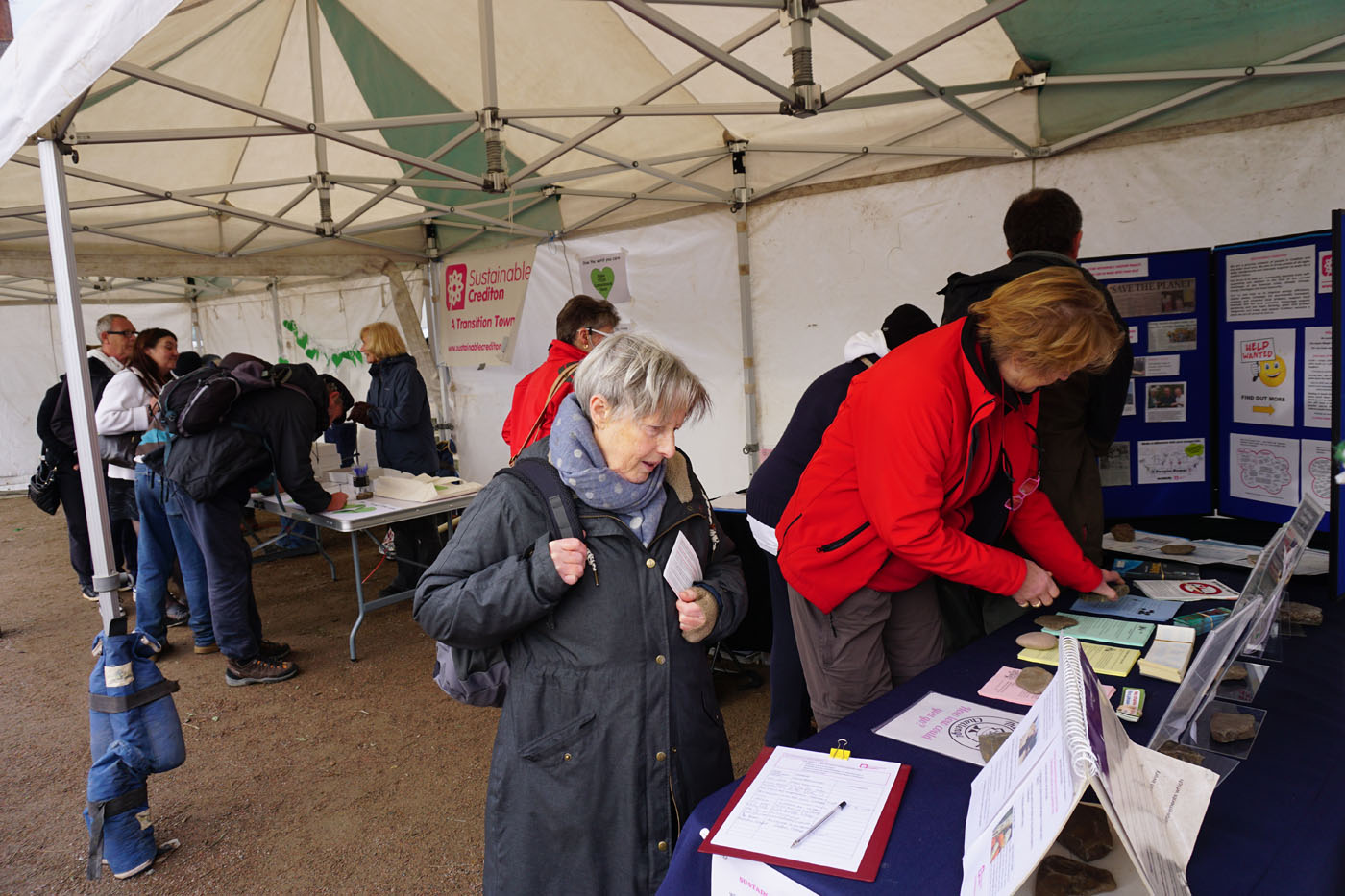Photograph of people browsing the Sustainable Crediton stall