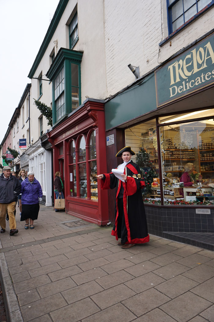 Photograph of Kevin Payne, the Town Crier on Crediton High Street